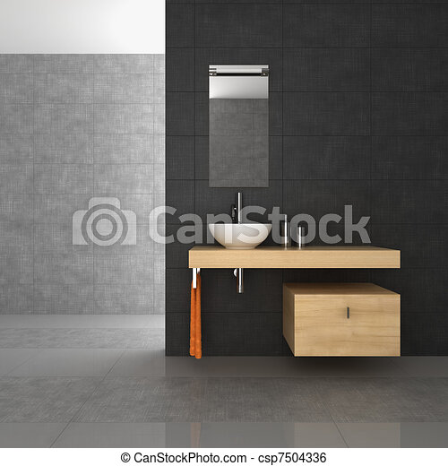 tiled bathroom with wood furniture - csp7504336