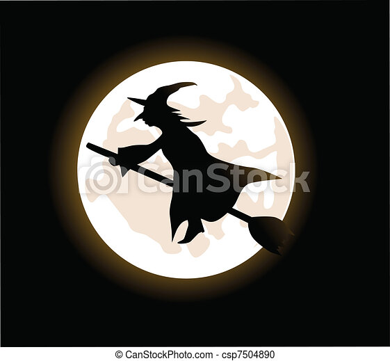 witch flying on a broomstick - csp7504890