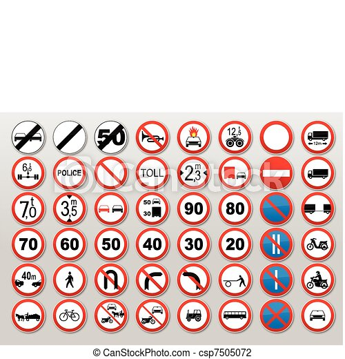 Traffic signs - Prohibit and restrict - csp7505072
