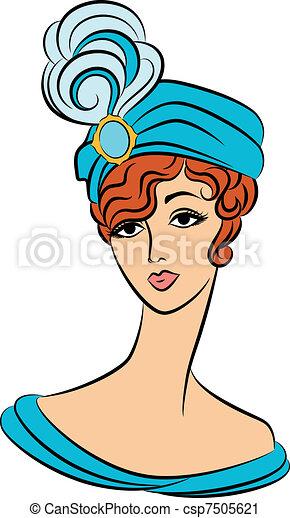 Vintage fashion girl in hat. - csp7505621