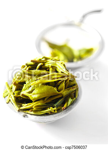 chinese tea leaves in a tea filter - csp7506037