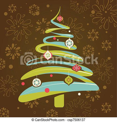 Christmas background with xmas tree - csp7506137