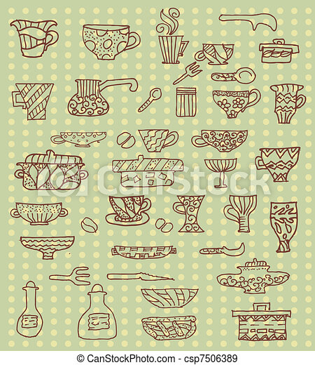 kitchen utensils background - csp7506389