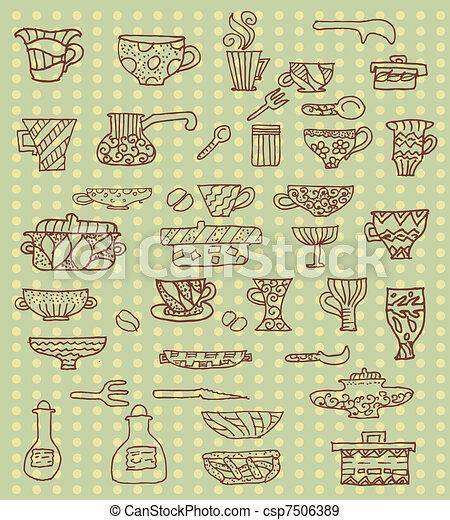 kitchen utensils background - csp7506389