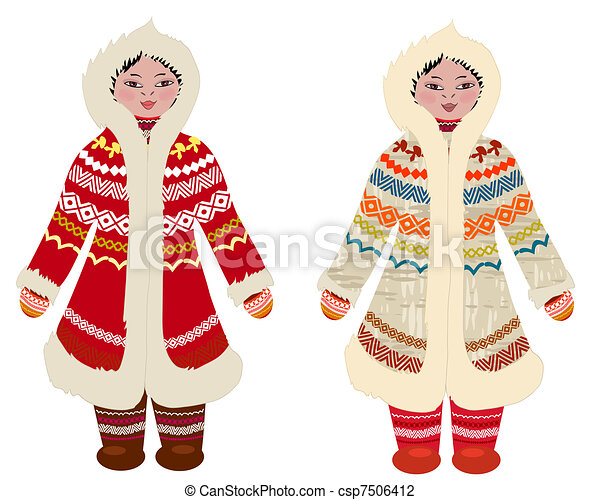 girl in traditional costume of northern peoples - csp7506412