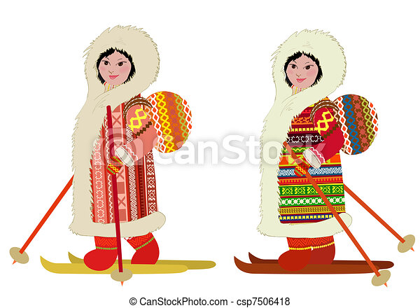 Eskimo girl in ski bag - csp7506418