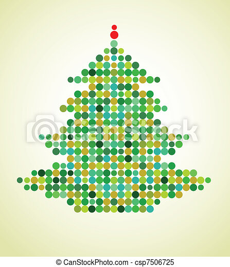 Xmas background with pixel Christmas tree - csp7506725