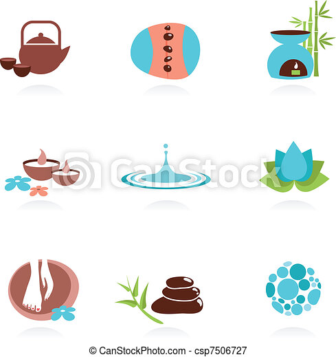 Collection of spa and Zen icons - csp7506727