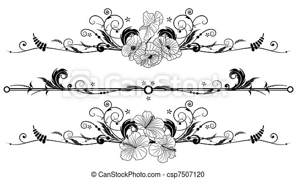 Clipart vecteur de hibiscus floral ensemble fond pavot - Fleur d hibiscus dessin ...