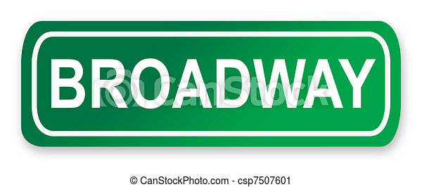 Clipart of Broadway street sign; isolated on white background, New York... csp7507601 ...