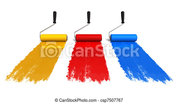 Color roller brushes with trails of paint - csp7507767