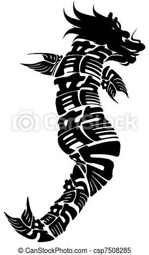 Chinese Dragonfish Black and White Clipart - csp7508285