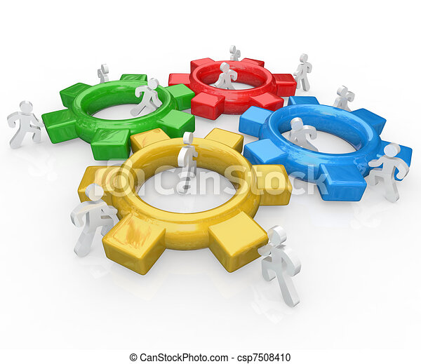 Team of People Push Gears Together Teamwork Success - csp7508410