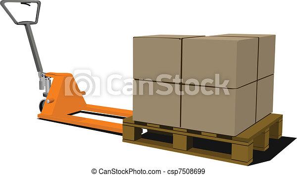 Boxes on hand pallet truck. Forkli - csp7508699
