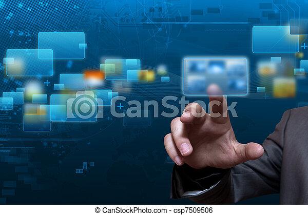 流, 屏幕, 技術 - csp7509506