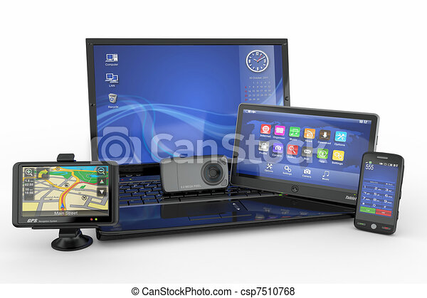 Electronics. Laptop, mobile phone, tablet pc and gps - csp7510768