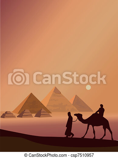 Bedouin and the Pyramids  - csp7510957