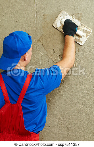Plasterer at work - csp7511357