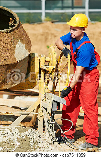 builder worker at construction site - csp7511359