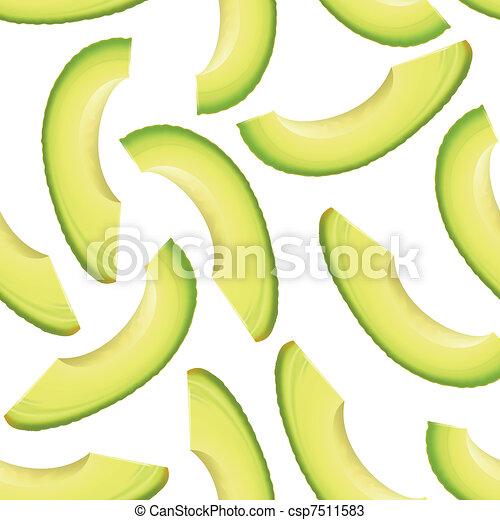 Thinly sliced pieces avocado. - csp7511583