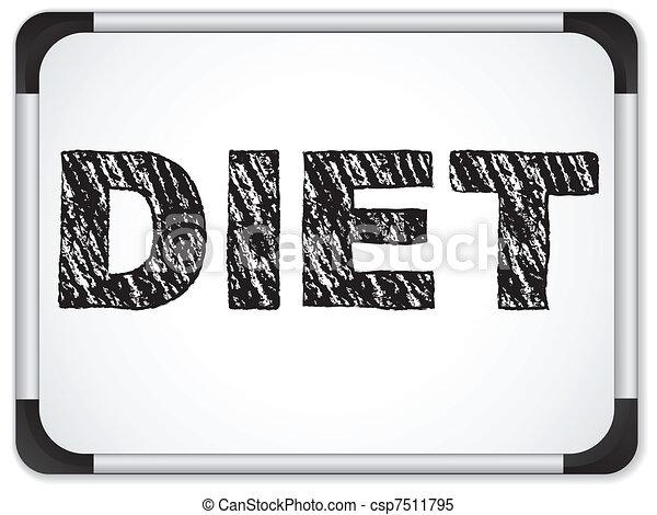 Diet written on whiteboard with chalk. - csp7511795