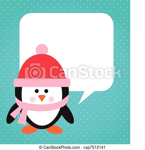 Penguin with hat and scarf - csp7512141