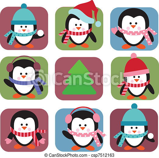 set of holiday penguins - csp7512163