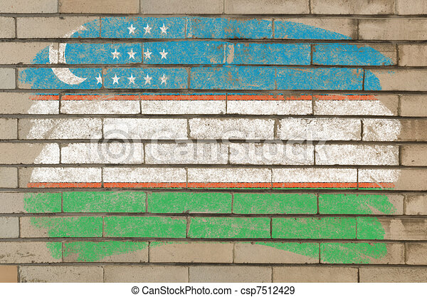 flag of uzbekistan on grunge brick wall painted with chalk   - csp7512429