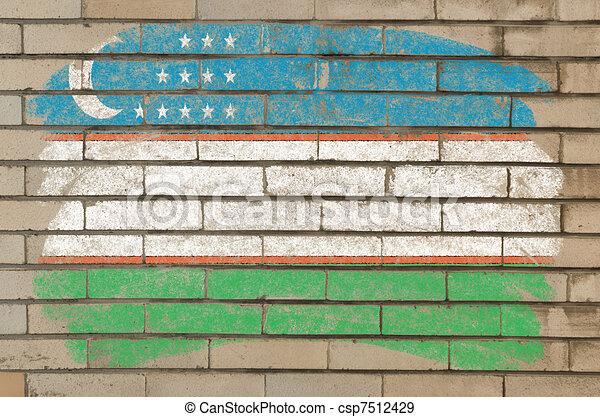 flag of uzbekistan on grunge brick wall painted with chalk   - csp7512429