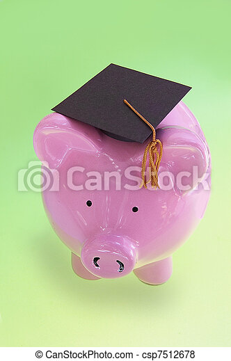 piggy bank with graduation cap on green ( cost of education ) - csp7512678