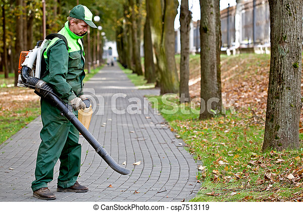 Landscaper with Leaf Blower - csp7513119