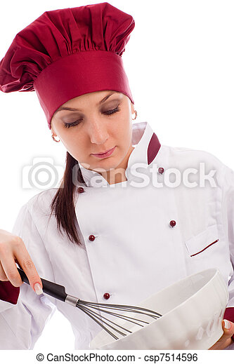 Chef with bowl and whip - csp7514596