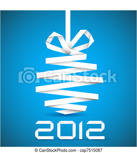 Simple vector christmas decoration made from paper - csp7515087