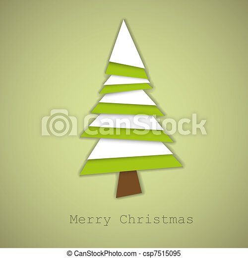 Simple vector christmas tree made from green and white paper - csp7515095