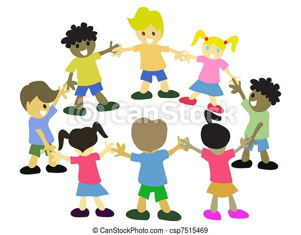Kinderkreis clipart  Clipart Vektor von kinder, gruppe, studieren, junger, oder, vektor ...