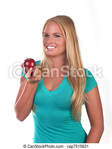 Healthy Young Woman Eating Nutritious Food - csp7515631