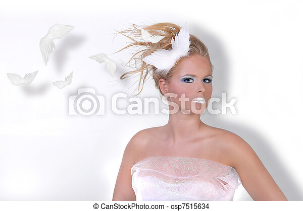 Conceptual Beauty of a Woman in Extreme Beauty Makeup - csp7515634