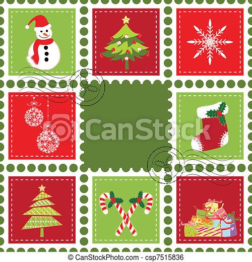 Set of Christmas stamp postage - csp7515836