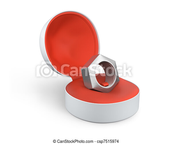 Silver female screw in a white ring box - csp7515974