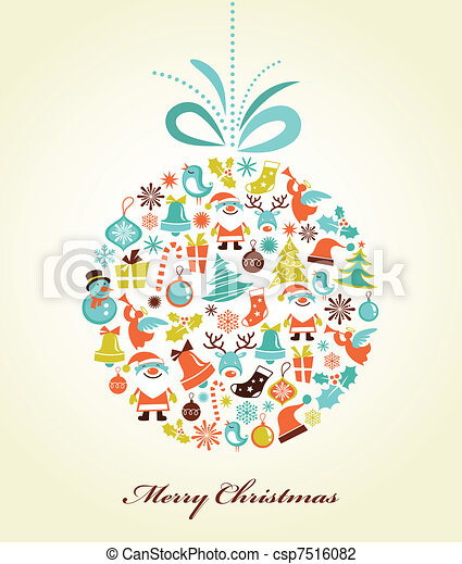 Retro Christmas background with the xmas ball - csp7516082