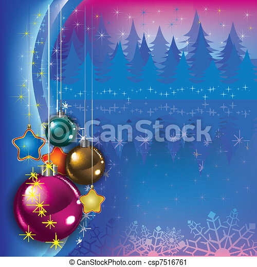 Abstract greeting with Christmas decorations - csp7516761
