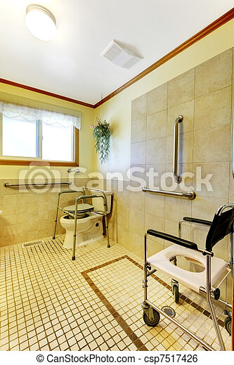 Bathroom in adult family home for handicap - csp7517426