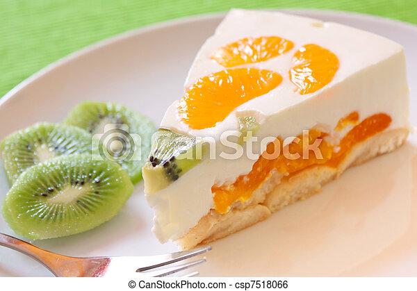 Clementine and kiwi Cake - csp7518066