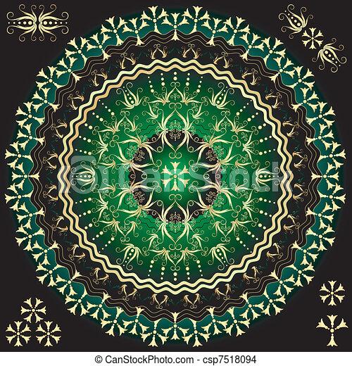 Green-gold round frame - csp7518094