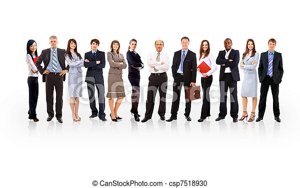 business team formed of young businessmen standing over a white background - csp7518930