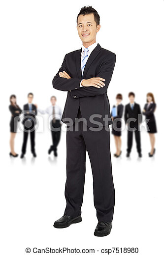 asian young Businessman and business team  - csp7518980