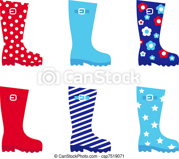 Fresh & colorful rubber wellington boots isolated on white   - csp7519071