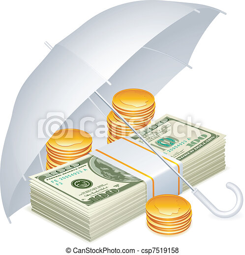 Umbrella and money. - csp7519158