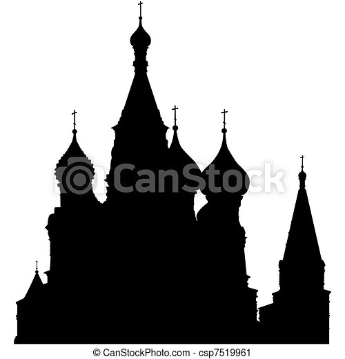 St. Basil's Cathedral silhouette - csp7519961