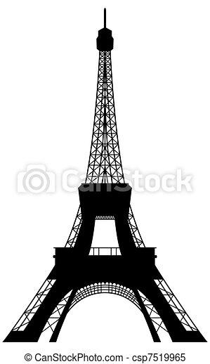 Eiffel tower silhouette - csp7519965